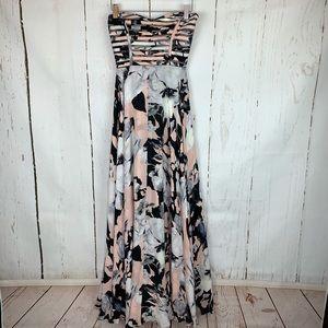 Parker   Strapless Floral Midi Dress